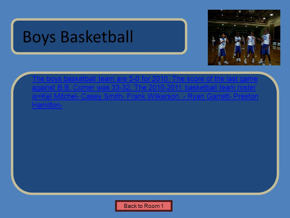Name of Museum The boys basketball team are 5-0 for 2010. The score of the last game against B.B. Comer was 33-32. The 2010-2011 basketball team roste