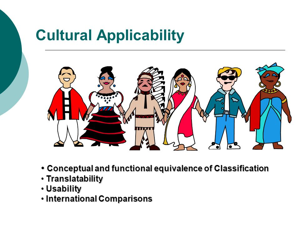 Cultural Applicability Conceptual and functional equivalence of Classification Conceptual and functional equivalence of Classification Translatability