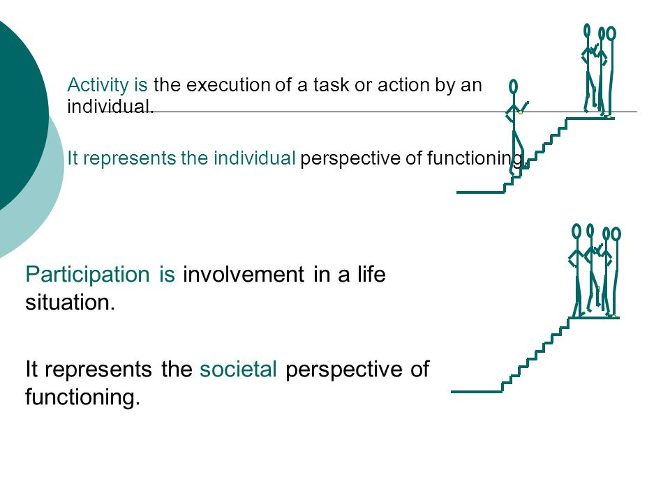 Activity is the execution of a task or action by an individual. It represents the individual perspective of functioning. Participation is involvement