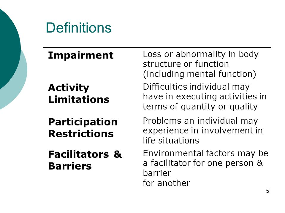 5 Definitions Impairment Loss or abnormality in body structure or function (including mental function) Activity Limitations Difficulties individual ma