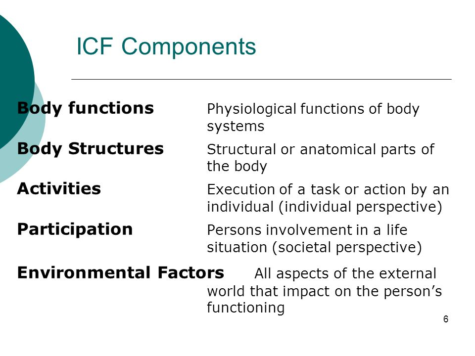7 ICF Structure Two parts: 1.Functioning and Disability a) Body functions and structures b) Activities and Participation 2.