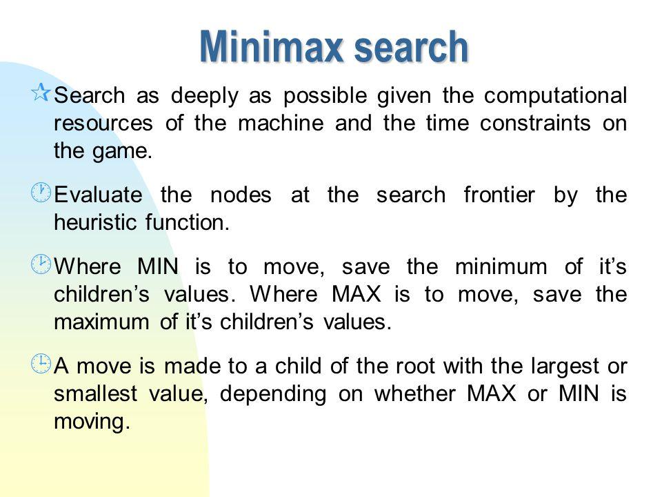 Minimax Search Where does X go 1010 0 0-2 X X X 4-3 = 1 4-2 = 2