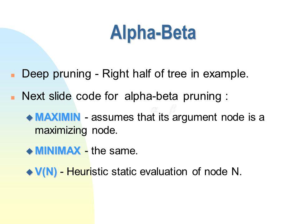 Alpha-Beta Pruning Example 4 4217635 <=2<=1 6 <=3 4 <=2 >=64 2 4 a b o g rlpkhfe c dj i q n m MAX MIN
