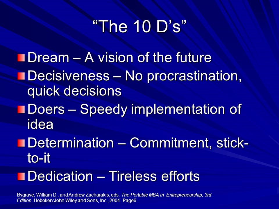 The 10 D's Dream – A vision of the future Decisiveness – No procrastination, quick decisions Doers – Speedy implementation of idea Determination – Commitment, stick- to-it Dedication – Tireless efforts Bygrave, William D., and Andrew Zacharakis, eds.