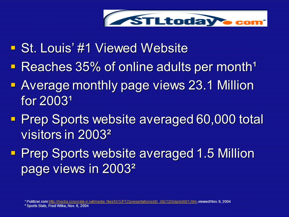 Success of  St. Louis' #1 Viewed Website  Reaches 35% of online adults per month¹  Average monthly page views 23.1 Million for 2003¹  Prep Sports