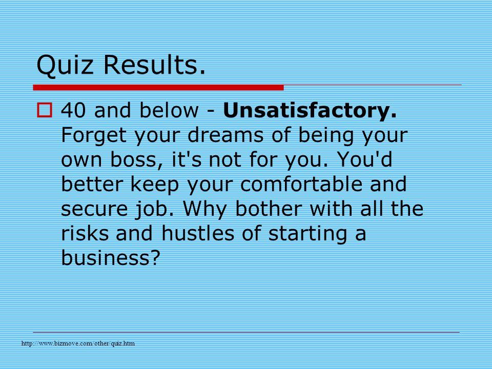 Quiz Results.  40 and below - Unsatisfactory.