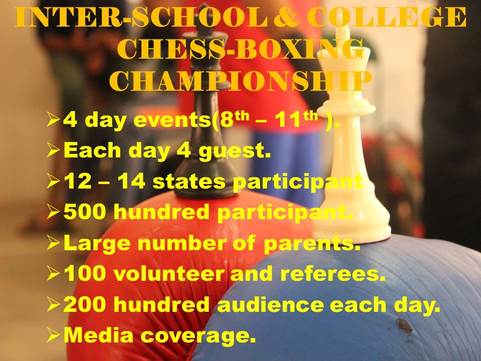 INTER-SCHOOL & COLLEGE CHESS-BOXING CHAMPIONSHIP  4 day events(8 th – 11 th ).