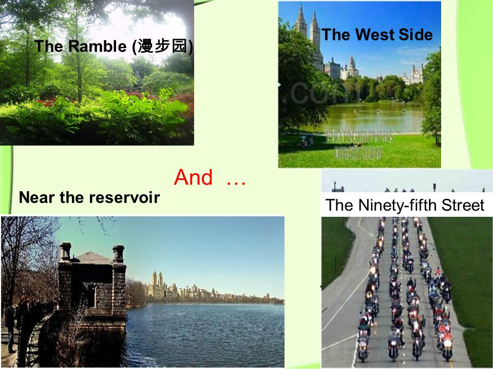 The Ramble ( 漫步园 ) The West Side Near the reservoir The Ninety-fifth Street And …