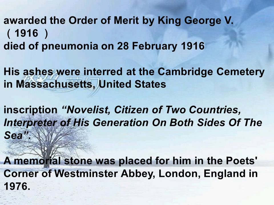 awarded the Order of Merit by King George V.