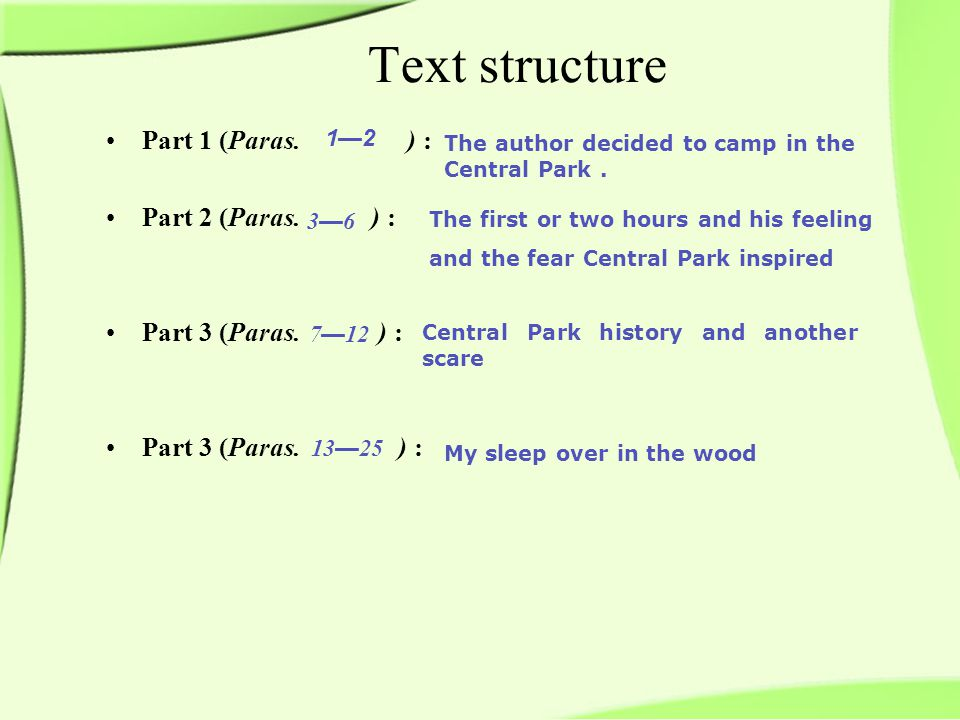Text structure Part 1 (Paras. ) : Part 2 (Paras. ) : Part 3 (Paras.