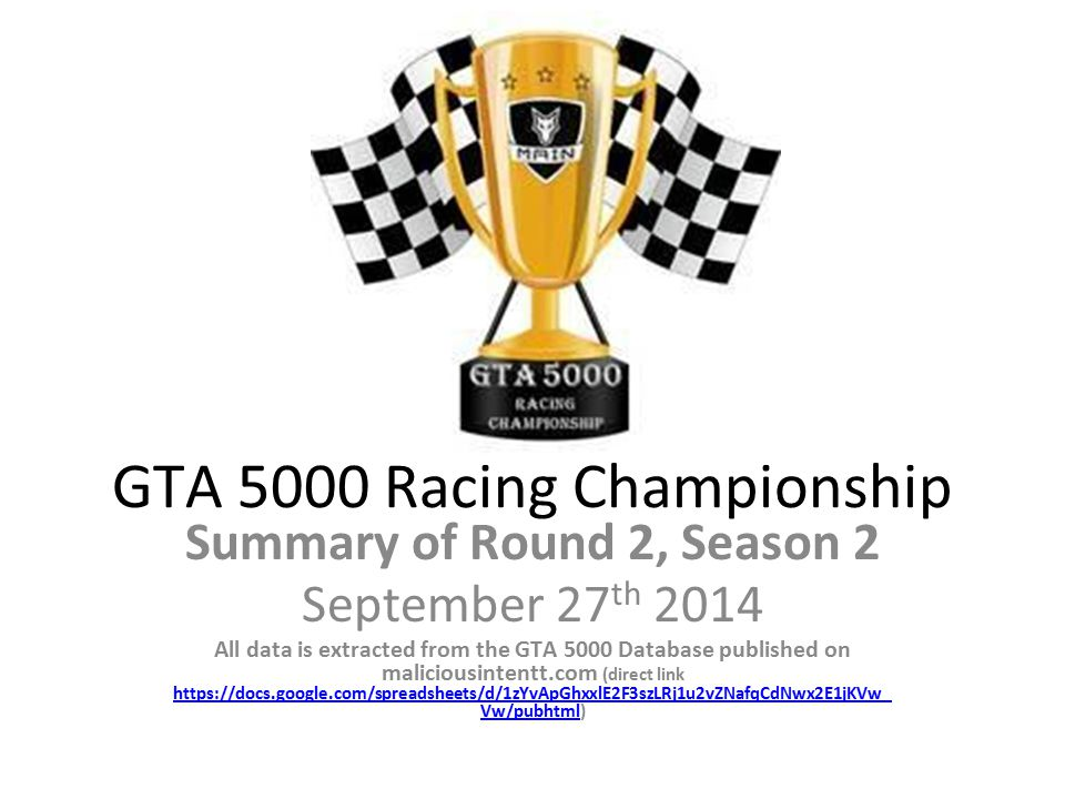 GTA 5000 Racing Championship Summary of Round 2, Season 2 September 27 th 2014 All data is extracted from the GTA 5000 Database published on maliciousintentt.com (direct link https://docs.google.com/spreadsheets/d/1zYvApGhxxlE2F3szLRj1u2vZNafqCdNwx2E1jKVw_ Vw/pubhtml)