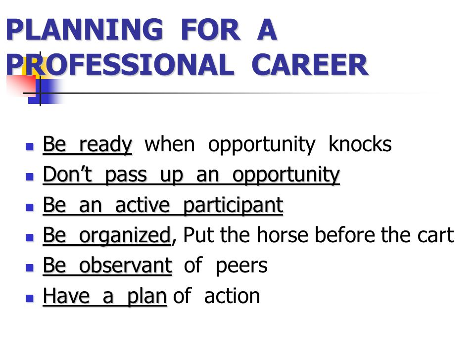 PLANNING FOR A PROFESSIONAL CAREER Be ready Be ready when opportunity knocks Don't pass up an opportunity Don't pass up an opportunity Be an active pa
