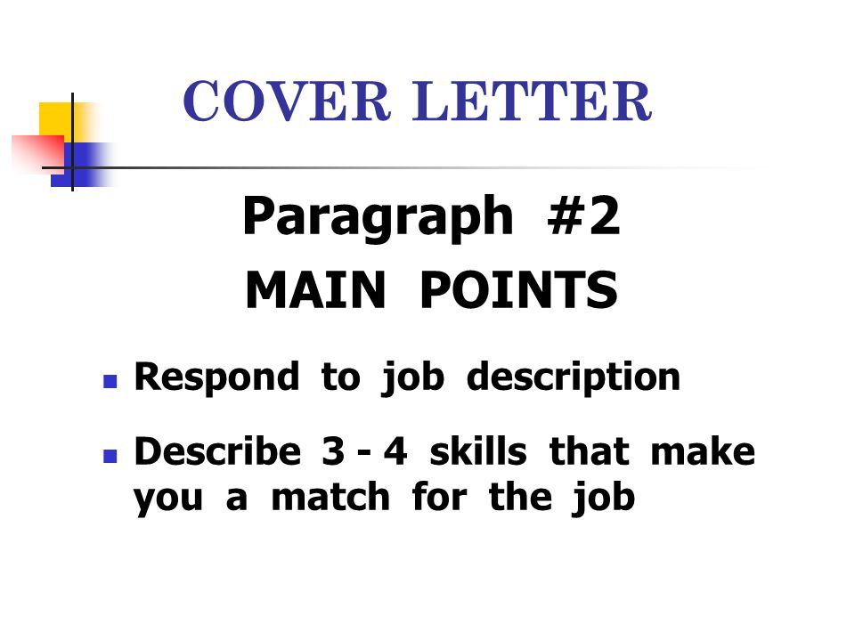 COVER LETTER Paragraph #2 MAIN POINTS Respond to job description Describe 3 - 4 skills that make you a match for the job