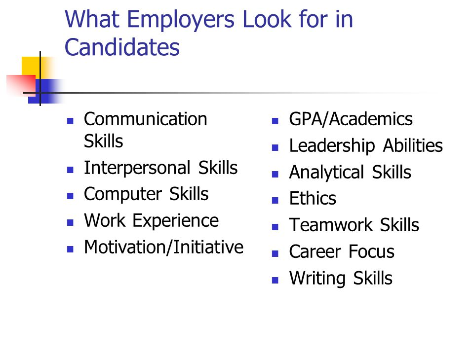 What Employers Look for in Candidates Communication Skills Interpersonal Skills Computer Skills Work Experience Motivation/Initiative GPA/Academics Le