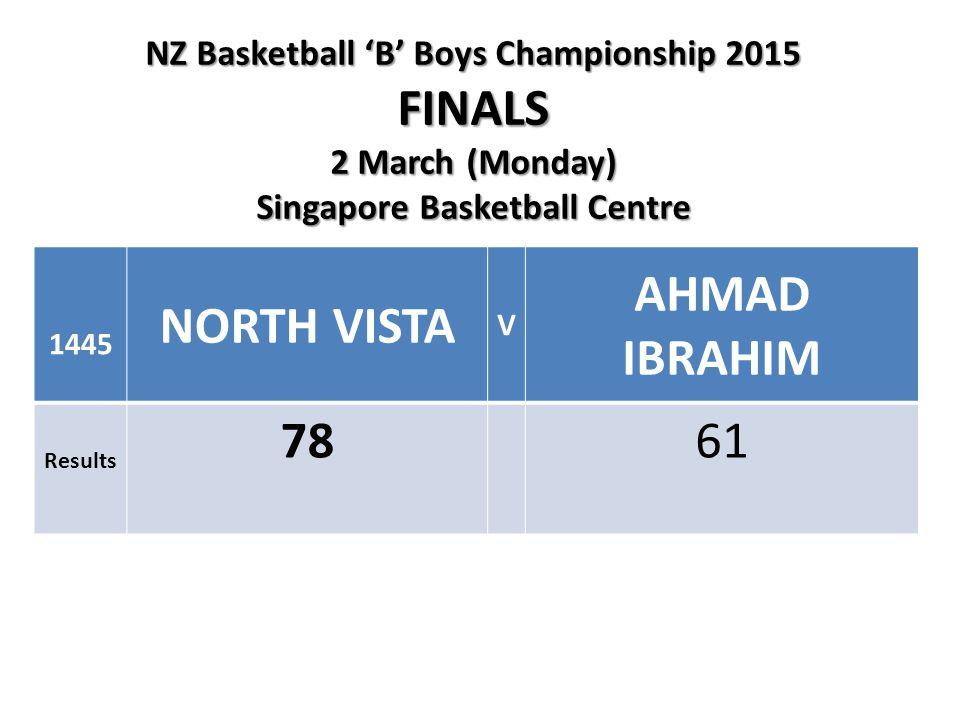 NZ Basketball 'B' Boys Championship 2015 FINALS 2 March (Monday) Singapore Basketball Centre 1445 NORTH VISTA V AHMAD IBRAHIM Results 7861