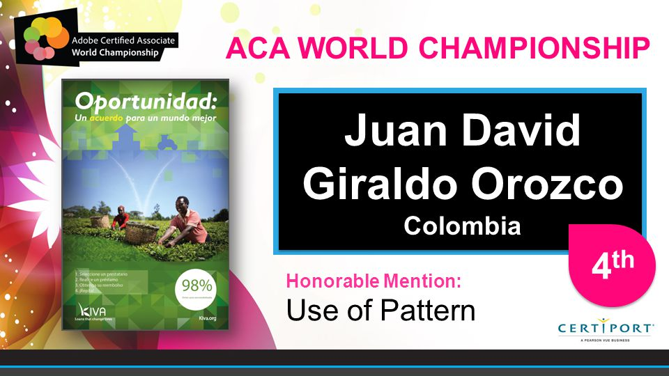Juan David Giraldo Orozco Colombia Juan David Giraldo Orozco Colombia Honorable Mention: Use of Pattern