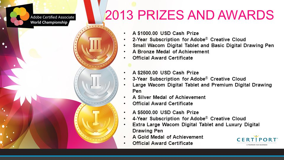 A $5000.00 USD Cash Prize 4-Year Subscription for Adobe ® Creative Cloud Extra Large Wacom Digital Tablet and Luxury Digital Drawing Pen A Gold Medal