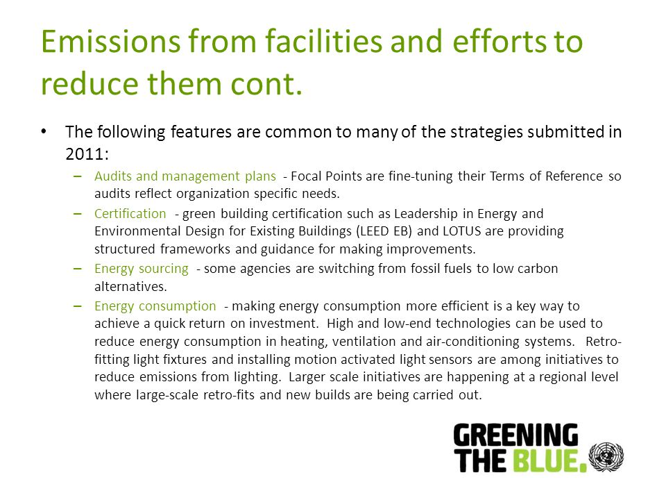 Emissions from facilities and efforts to reduce them cont.