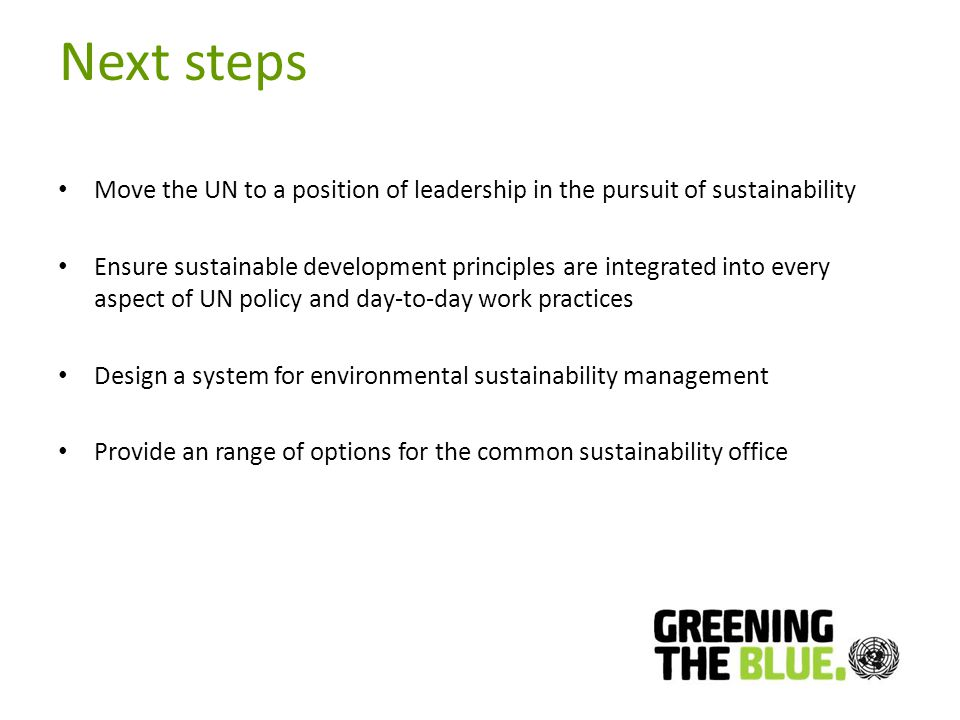 Next steps Move the UN to a position of leadership in the pursuit of sustainability Ensure sustainable development principles are integrated into every aspect of UN policy and day-to-day work practices Design a system for environmental sustainability management Provide an range of options for the common sustainability office