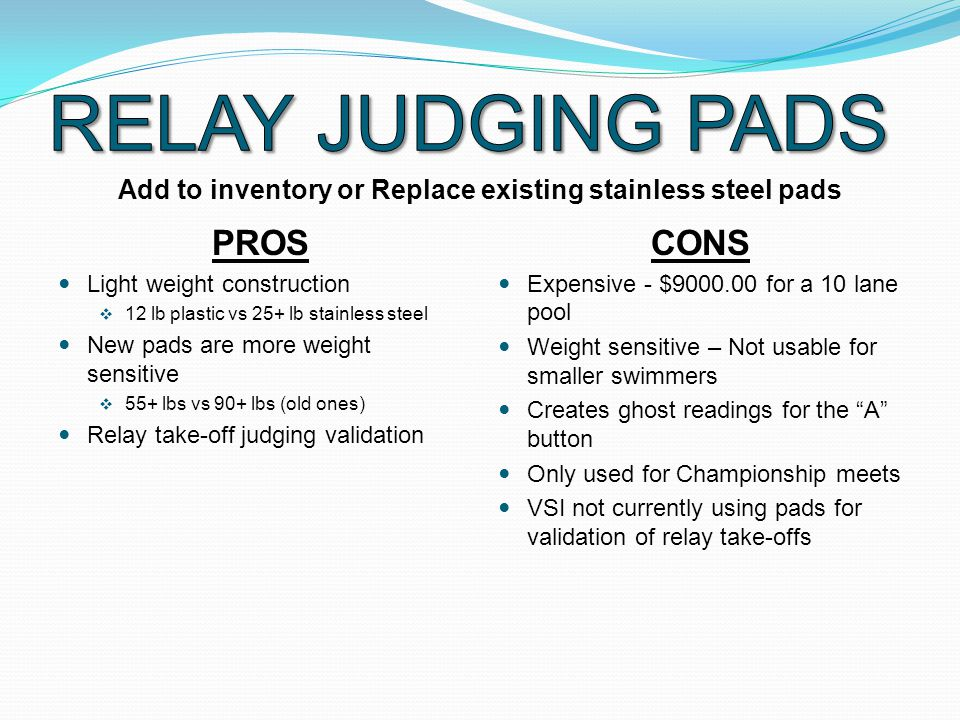 PROS Light weight construction  12 lb plastic vs 25+ lb stainless steel New pads are more weight sensitive  55+ lbs vs 90+ lbs (old ones) Relay take