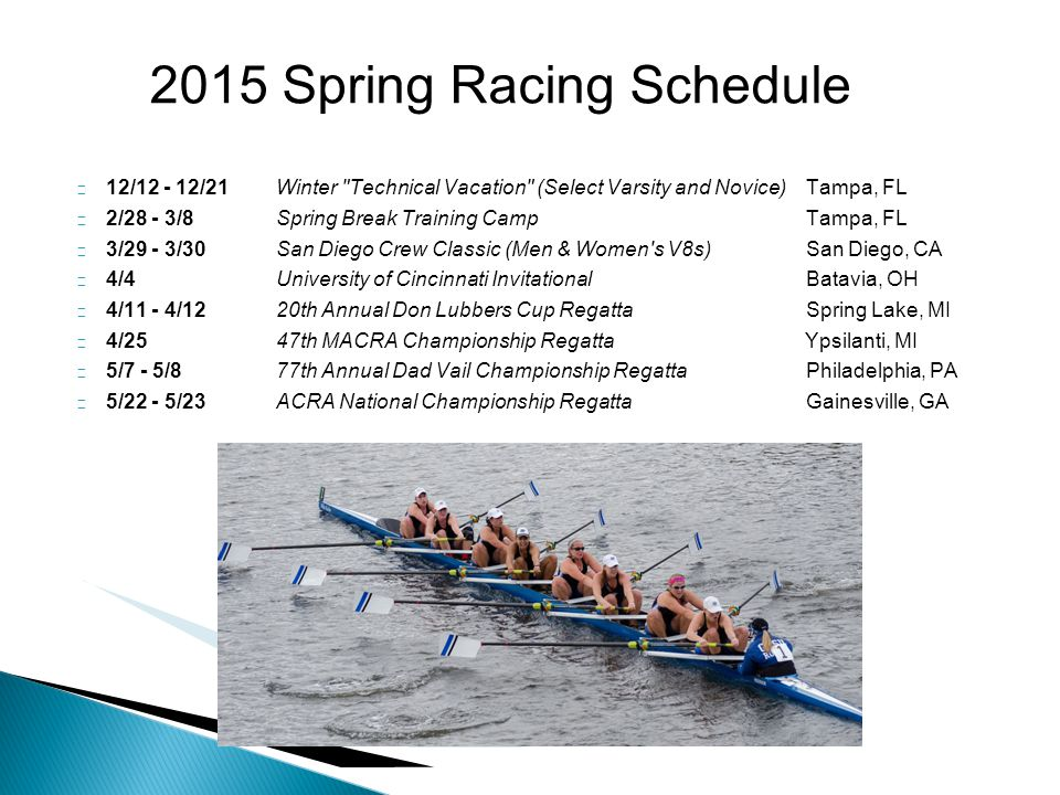  12/12 - 12/21 Winter Technical Vacation (Select Varsity and Novice) Tampa, FL  2/28 - 3/8 Spring Break Training Camp Tampa, FL  3/29 - 3/30 San Diego Crew Classic (Men & Women s V8s) San Diego, CA  4/4University of Cincinnati InvitationalBatavia, OH  4/11 - 4/1220th Annual Don Lubbers Cup RegattaSpring Lake, MI  4/2547th MACRA Championship Regatta Ypsilanti, MI  5/7 - 5/8 77th Annual Dad Vail Championship Regatta Philadelphia, PA  5/22 - 5/23 ACRA National Championship Regatta Gainesville, GA 2015 Spring Racing Schedule