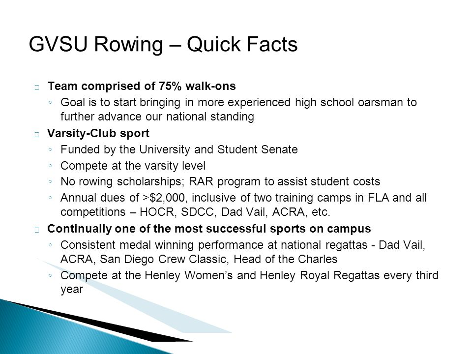  Team comprised of 75% walk-ons ◦ Goal is to start bringing in more experienced high school oarsman to further advance our national standing  Varsit