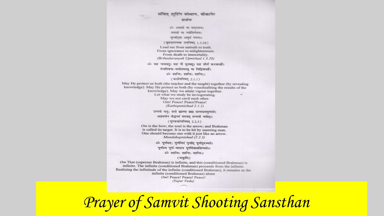 Objectives of Samvit Shooting Sansthan To nurture and train internationally excellent sharps shooters in India.