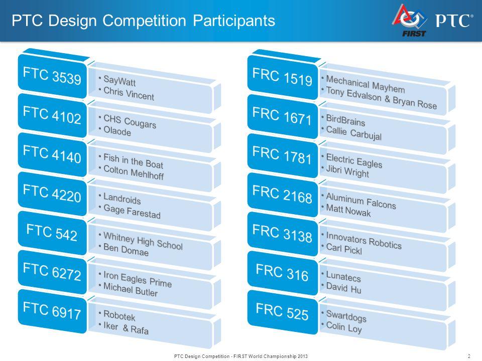 2 PTC Design Competition Participants PTC Design Competition - FIRST World Championship 2013