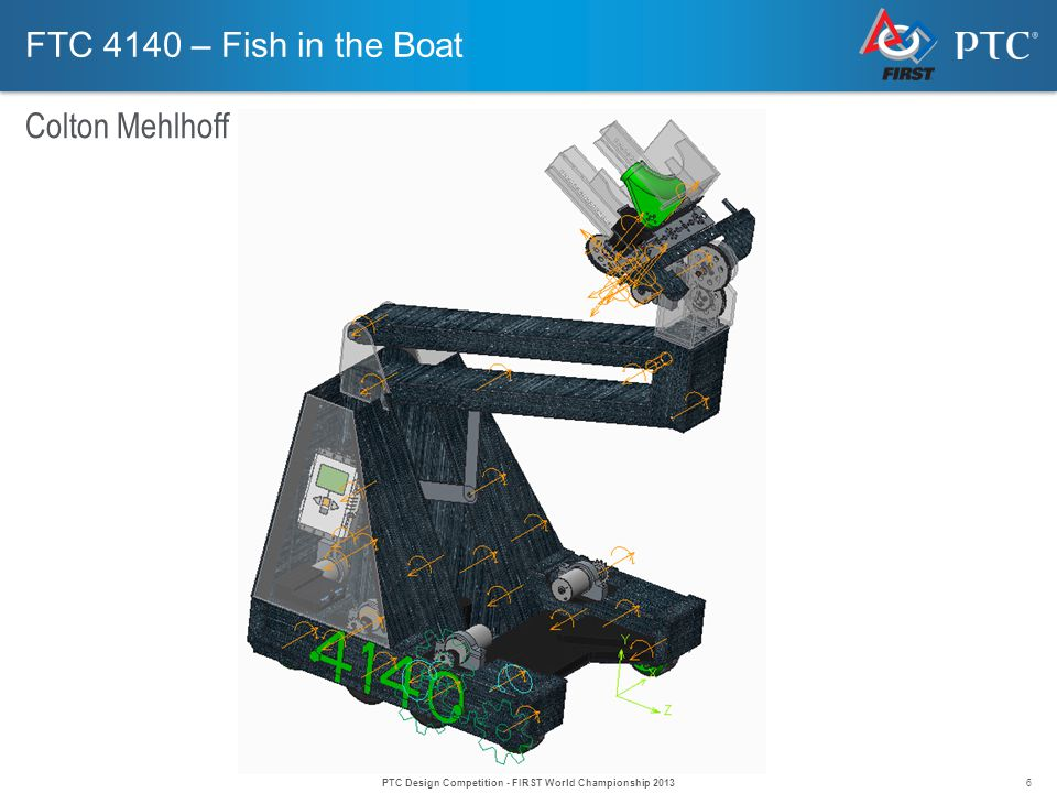 6 FTC 4140 – Fish in the Boat Colton Mehlhoff PTC Design Competition - FIRST World Championship 2013