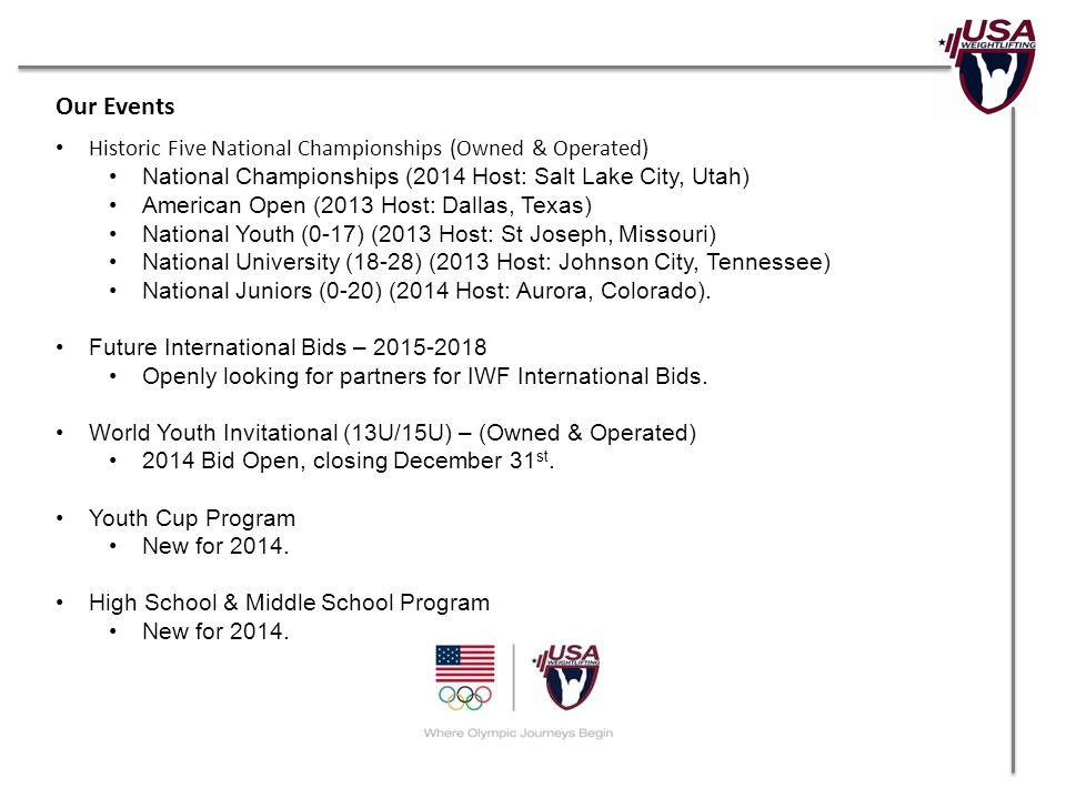 Our Events Historic Five National Championships (Owned & Operated) National Championships (2014 Host: Salt Lake City, Utah) American Open (2013 Host: Dallas, Texas) National Youth (0-17) (2013 Host: St Joseph, Missouri) National University (18-28) (2013 Host: Johnson City, Tennessee) National Juniors (0-20) (2014 Host: Aurora, Colorado).