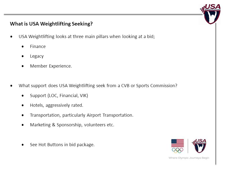 What is USA Weightlifting Seeking.