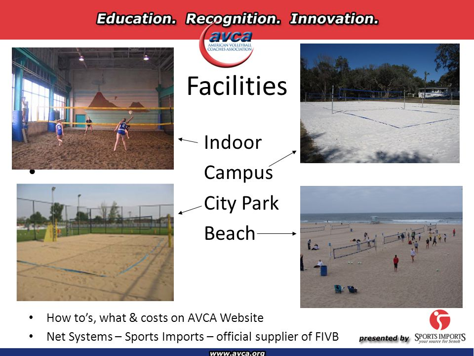Facilities Indoor Campus City Park Beach How to's, what & costs on AVCA Website Net Systems – Sports Imports – official supplier of FIVB