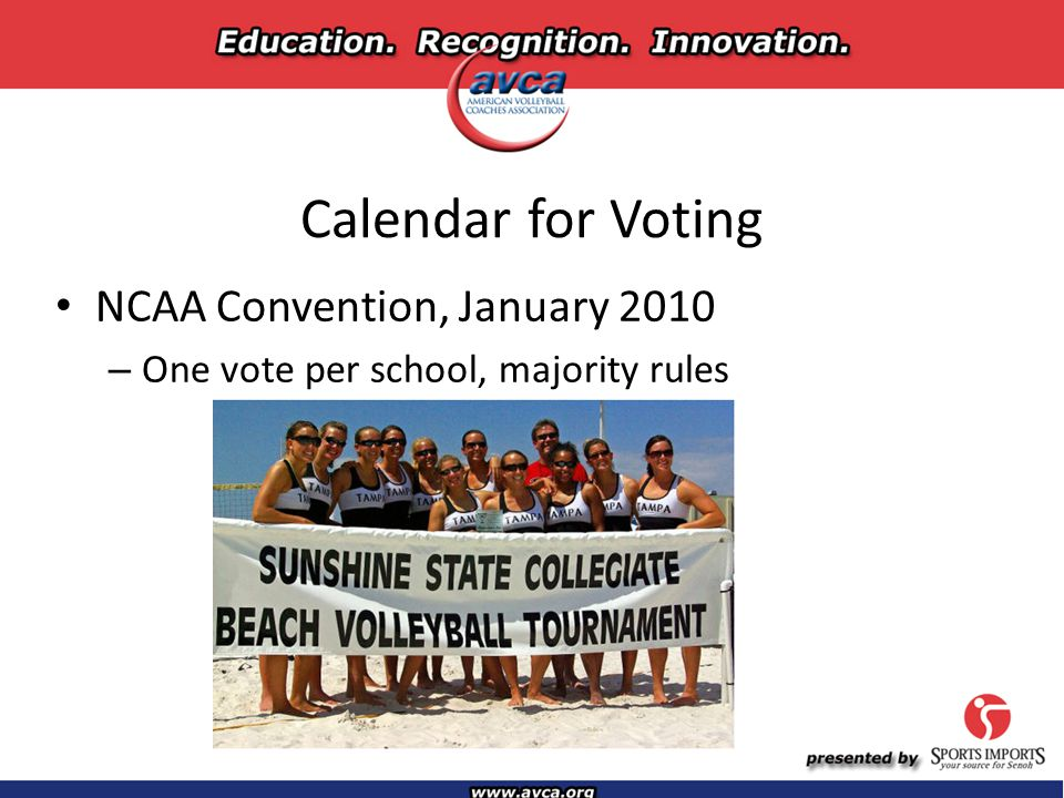 Calendar for Voting NCAA Convention, January 2010 – One vote per school, majority rules