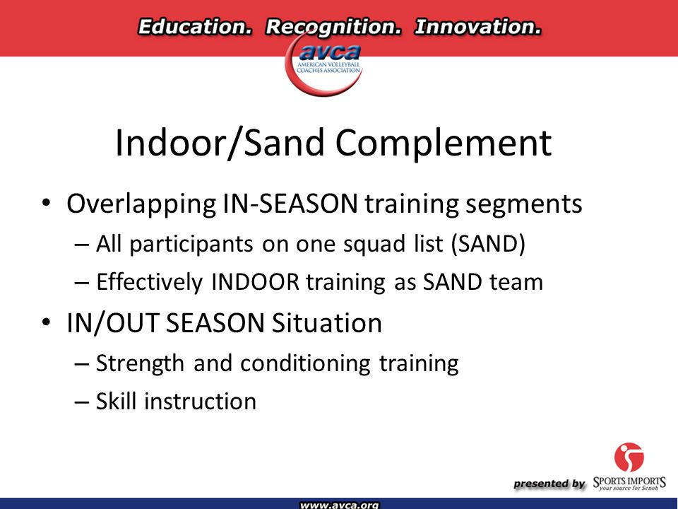 Indoor/Sand Complement Overlapping IN-SEASON training segments – All participants on one squad list (SAND) – Effectively INDOOR training as SAND team IN/OUT SEASON Situation – Strength and conditioning training – Skill instruction