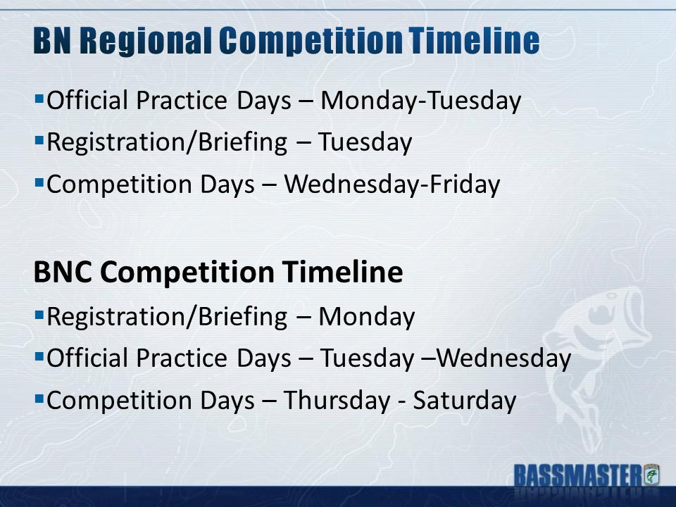  Official Practice Days – Monday-Tuesday  Registration/Briefing – Tuesday  Competition Days – Wednesday-Friday BNC Competition Timeline  Registration/Briefing – Monday  Official Practice Days – Tuesday –Wednesday  Competition Days – Thursday - Saturday