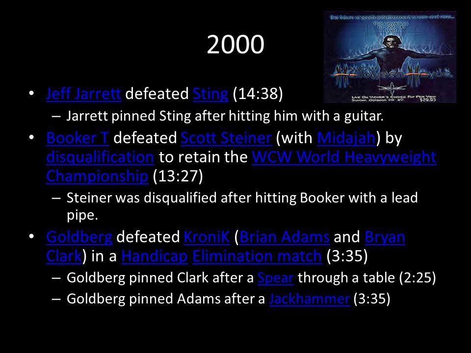 2000 Jeff Jarrett defeated Sting (14:38) Jeff JarrettSting – Jarrett pinned Sting after hitting him with a guitar.