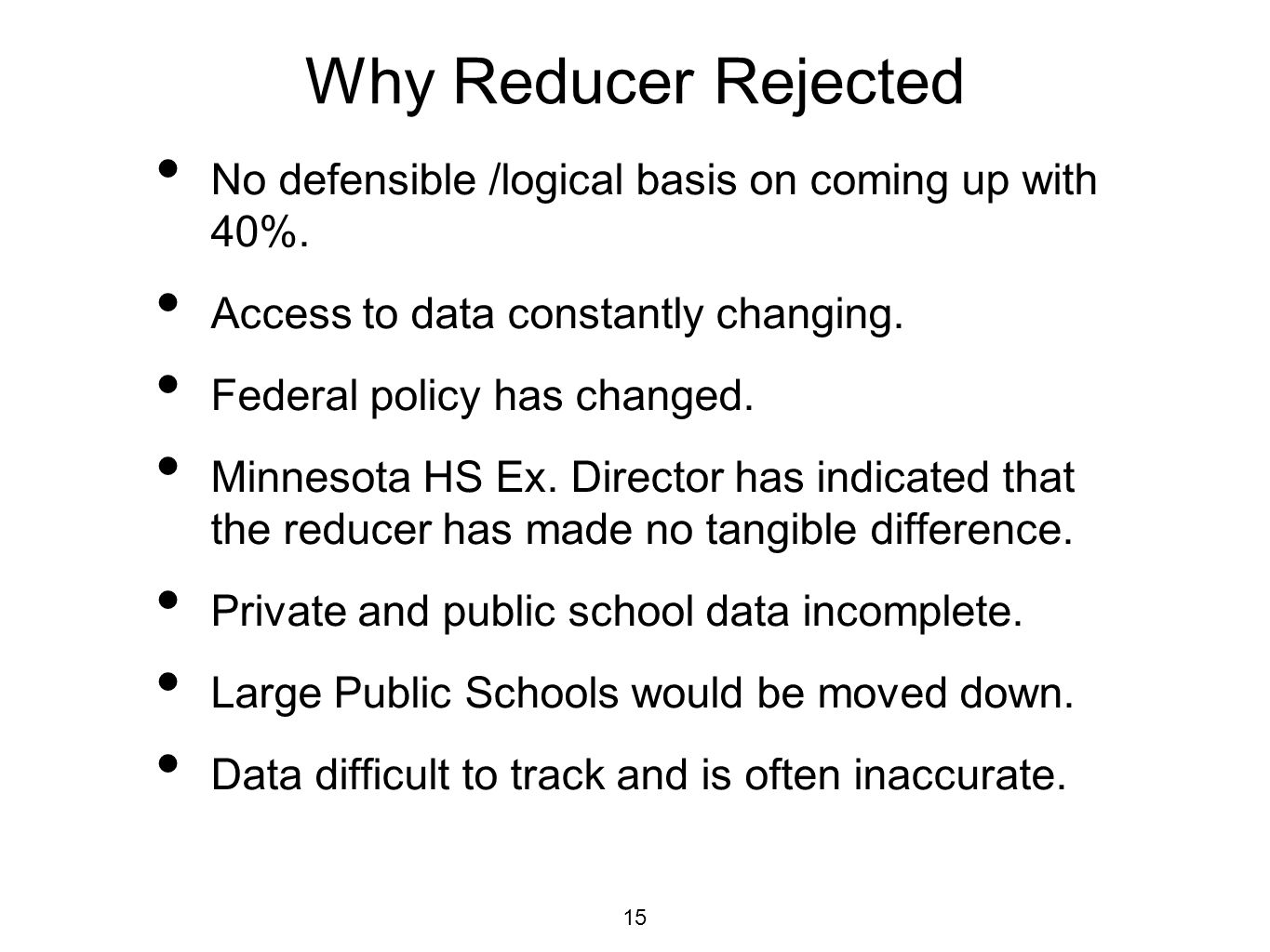 Why Reducer Rejected No defensible /logical basis on coming up with 40%.