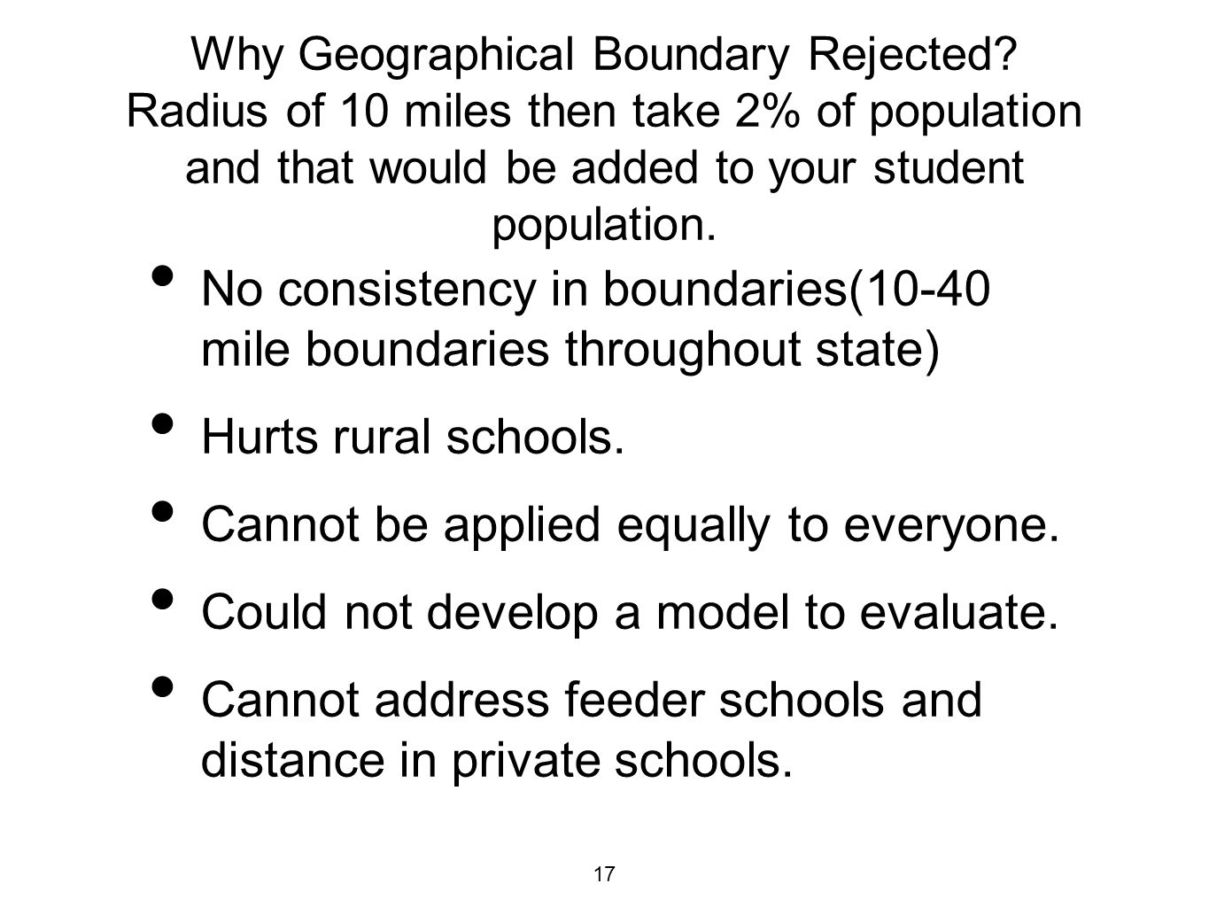 Why Geographical Boundary Rejected.