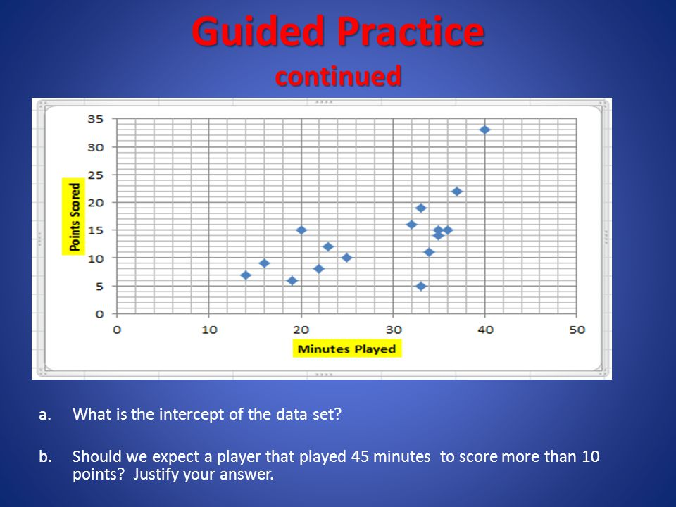 Guided Practice - continues Equation of the Line of Best Fit a.What is the equation of the best fit line? b.What does the slope of the best fit line t