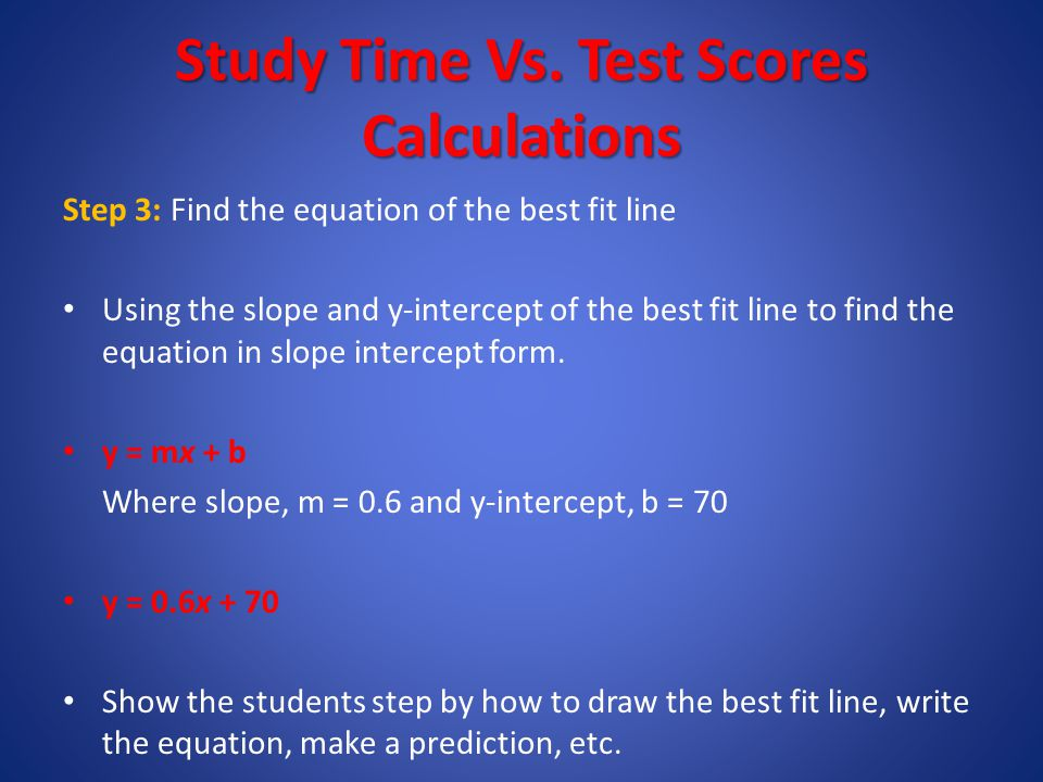 Study Time (Minutes) Test Scores Study Time Vs. Test Scores 0 10 20 30 40 50 60 70 80 90 100 110 Step 2: Find the y- intercept of the best fit line. E