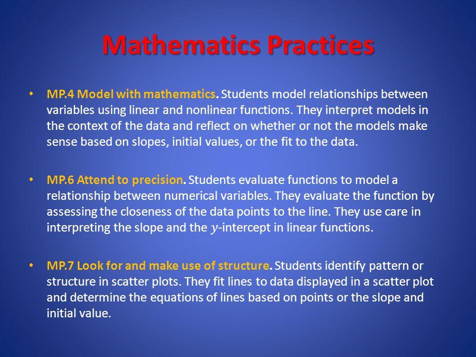 Mathematics Practices MP.4 Model with mathematics.