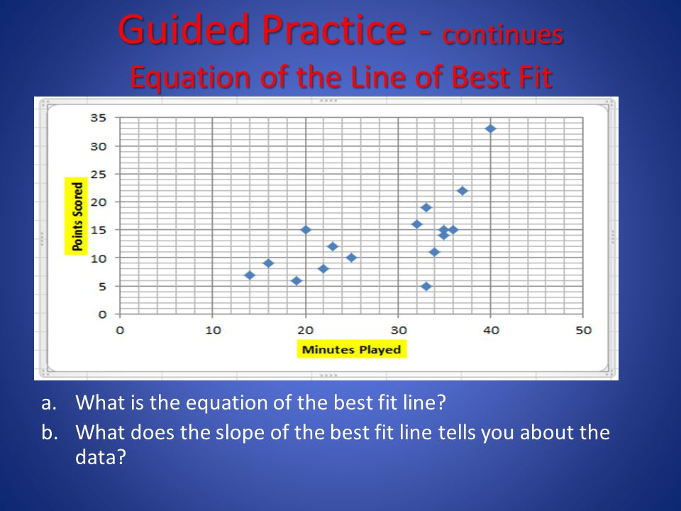 Guided Practice - continues Equation of the Line of Best Fit a.What is the equation of the best fit line.