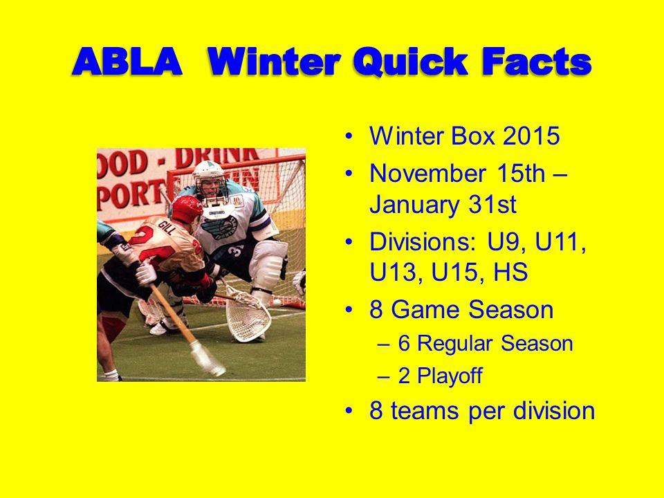 Winter Box 2015 November 15th – January 31st Divisions: U9, U11, U13, U15, HS 8 Game Season –6 Regular Season –2 Playoff 8 teams per division
