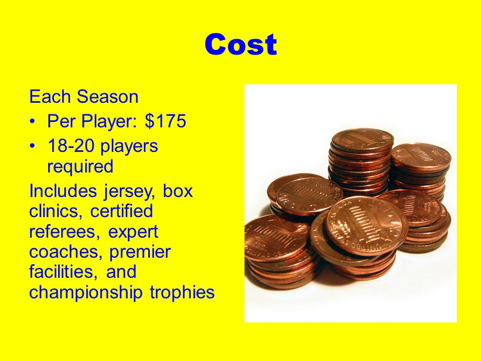 Cost Each Season Per Player: $175 18-20 players required Includes jersey, box clinics, certified referees, expert coaches, premier facilities, and championship trophies