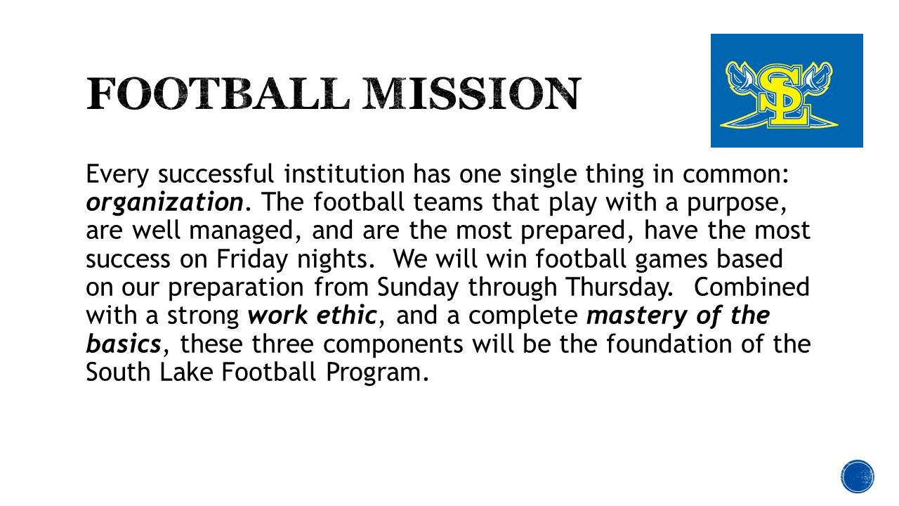  Elite Programs have Elite Parent Help  Many things must happen behind the scenes  Please strongly consider taking on a role  No role is too small  Be a part of the whole Football experience