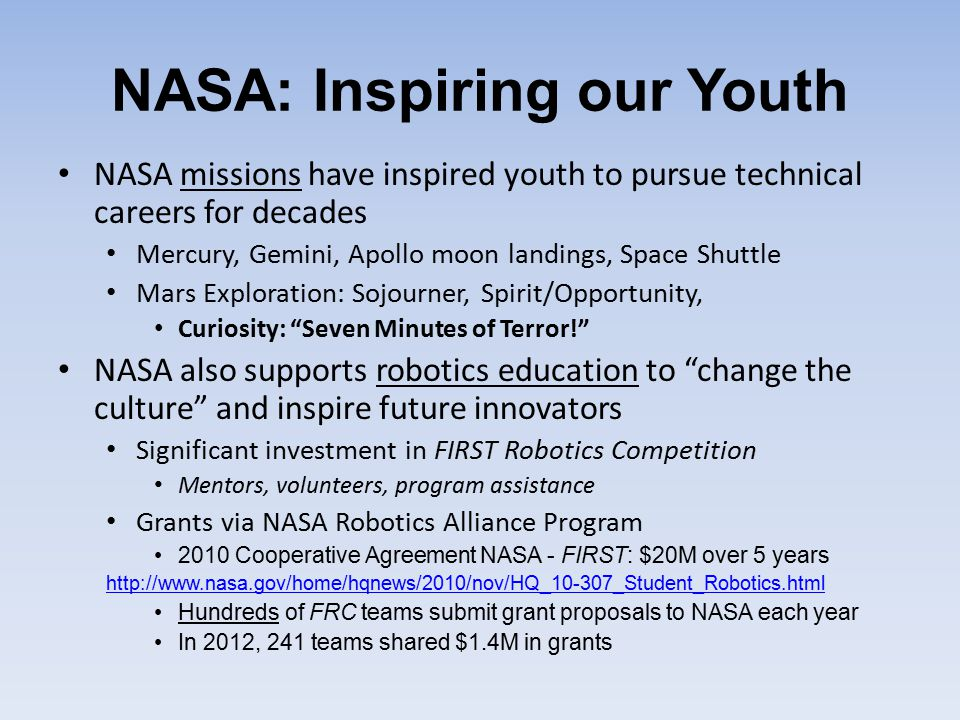 NASA: Inspiring our Youth NASA missions have inspired youth to pursue technical careers for decades Mercury, Gemini, Apollo moon landings, Space Shutt
