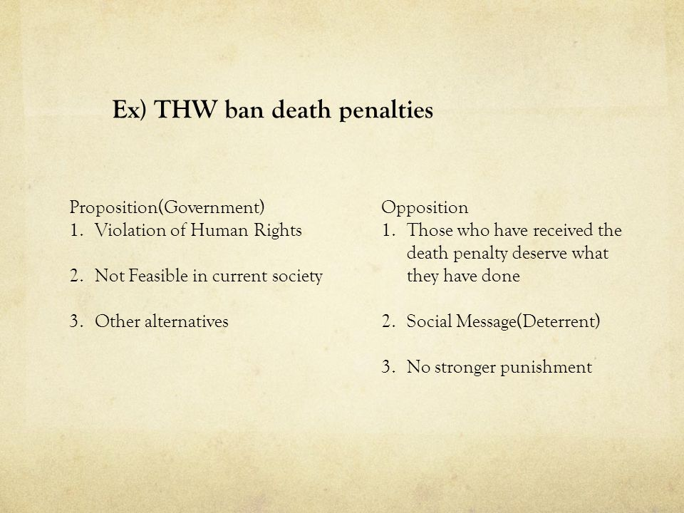 Ex) THW ban death penalties Proposition(Government) 1.Violation of Human Rights 2.Not Feasible in current society 3.Other alternatives Opposition 1.Th