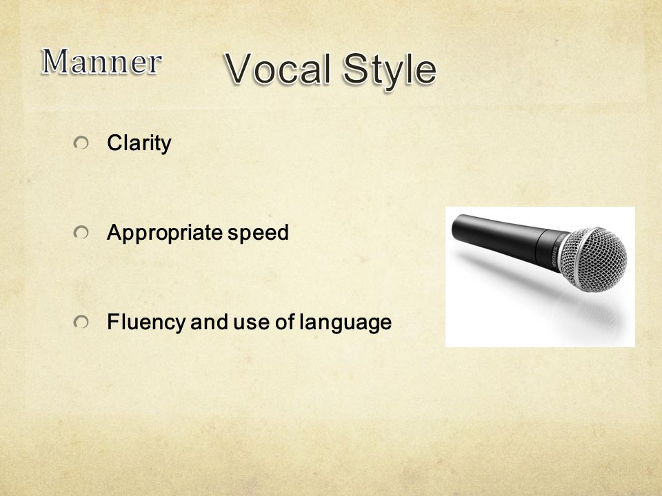 Clarity Appropriate speed Fluency and use of language