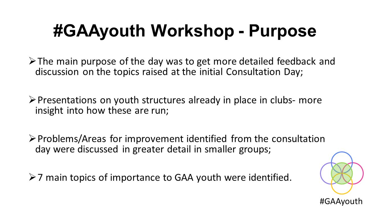 #GAAyouth Workshop - Purpose #GAAyouth  The main purpose of the day was to get more detailed feedback and discussion on the topics raised at the initial Consultation Day;  Presentations on youth structures already in place in clubs- more insight into how these are run;  Problems/Areas for improvement identified from the consultation day were discussed in greater detail in smaller groups;  7 main topics of importance to GAA youth were identified.