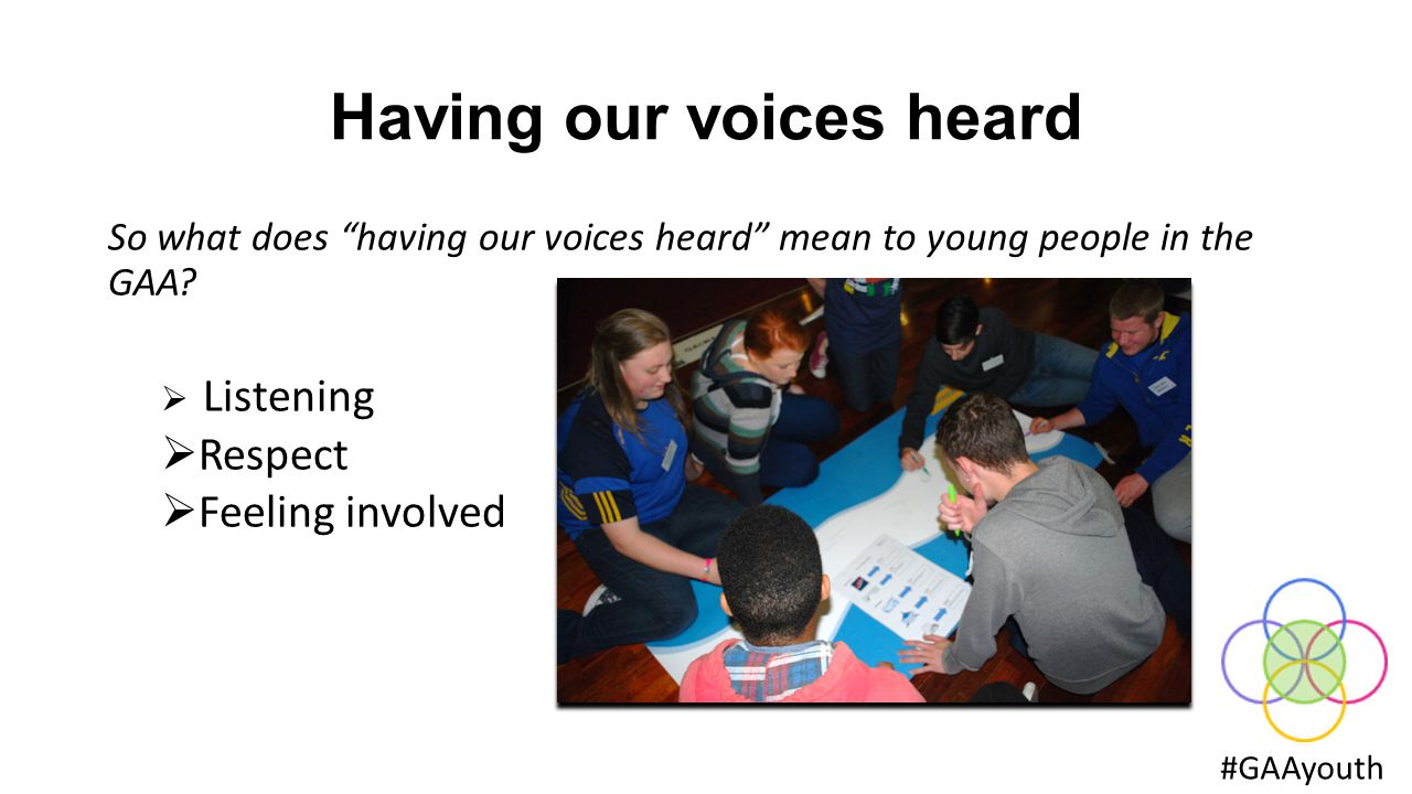 Having our voices heard #GAAyouth What helps young people to have our voices heard ?